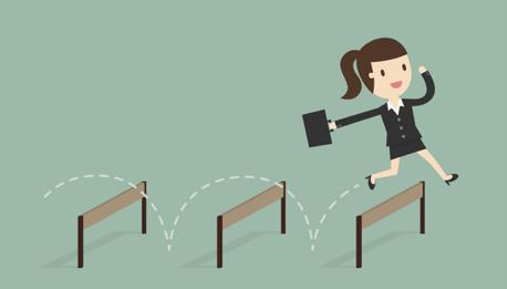 cartoon businesswoman jumping hurdles